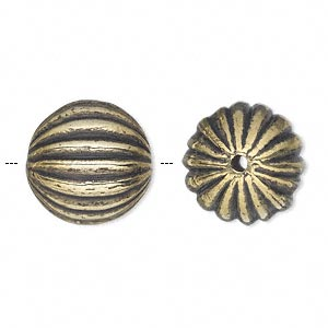 Bead, Antiqued Gold-finished Copper-coated Plastic, 17mm Ribbed Round 2mm Hole. Sold Per 50-gram Pkg, Approximately 20 Beads