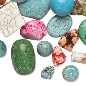 Bead Mix, Magnesite (dyed / Stabilized), Mixed Colors, 9x6mm-77x39mm Mixed Shape, D Grade, Mohs Hardness 3-1/2 4. Sold Per 1-pound Pkg, Approximately 55-70 Beads