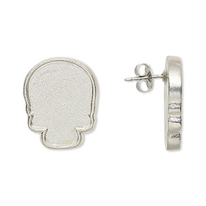 Earring Settings Imitation rhodium-plated Silver Colored