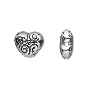 Bead, Antiqued Silver-finished Copper-coated Plastic, 15x13mm Double-sided Heart. Sold Per 50-gram Pkg, Approximately 60 Beads