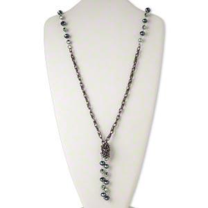 Necklace, gunmetal-finished steel / glass / acrylic, black