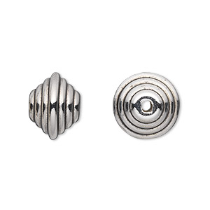 Bead, Antiqued Silver-finished Copper-coated Plastic, 14x11mm Saucer 2mm Hole. Sold Per 50-gram Pkg, Approximately 45 Beads