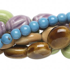 Bead Mix, Porcelain, Mixed Colors, 8mm-21x19mm Mixed Shapes. Sold Per Pkg (5) 16-inch Strands