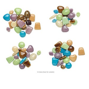 Bead Mix, Porcelain, Mixed Colors, 23x18mm-35x28mm Mixed Shapes. Sold Per Pkg 20