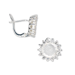 Earstud, Sterling Silver Cubic Zirconia, Clear, 13x13mm Flower 7mm Round Setting. Sold Per Pair