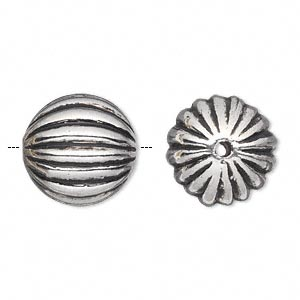 Bead, Antiqued Silver-finished Copper-coated Plastic, 17mm Ribbed Round 2mm Hole. Sold Per 50-gram Pkg, Approximately 20 Beads