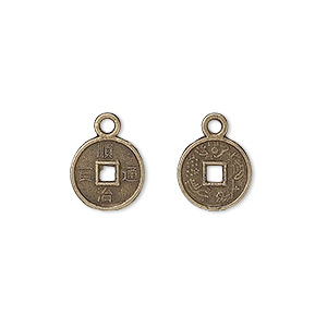 "Charm, Antique Brass-plated ""pewter"" (zinc-based Alloy), 10mm Double-sided Chinese Dynasty Coin Replica. Sold Per Pkg 100"