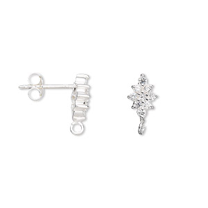 Earstud, Sterling Silver Cubic Zirconia, Clear, 13x7mm Diamond Open Loop. Sold Per Pair