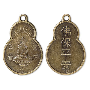 "Focal, Antique Brass-plated ""pewter"" (zinc-based Alloy), 33x22mm Quan-Yin Coin, ""Buddha Blessing: Safety Peace."" Sold Per Pkg 50"
