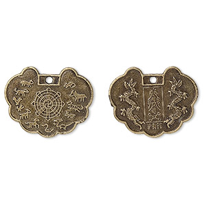 "Focal, Antique Brass-plated ""pewter"" (zinc-based Alloy), 30x23mm Chinese Zodiac ""protective Talisman."" Sold Per Pkg 50"