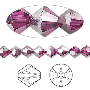 Bead, Swarovski® Crystals, Crystal Passions®, Fuchsia Satin, 6mm Xilion Bicone (5328). Sold Per Pkg 24 5328