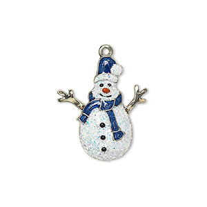 "Charm, Enamel Silver-plated Gold-finished ""pewter"" (zinc-based Alloy), Multicolored Glitter, 22.5x19mm Single-sided Snowman. Sold Individually"