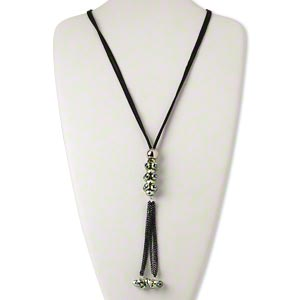 Necklace, 2-strand, Velvet Cord / Silver-coated Plastic / Glass / Silver-finished Steel, Metallic Green Black, 8x6mm Faceted Rondelle 6-inch Dangle, 32 Inches Knotted End. Sold Individually 4527JD