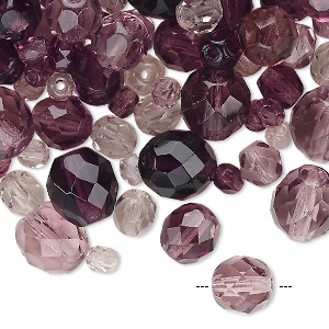 Bead Mix, Czech Fire-polished Glass, Amethyst Purple, 4-10mm Faceted Rounds. Sold Per 50-gram Pkg, Approximately 75-130 Beads 151-19001-00-46810mm-99925
