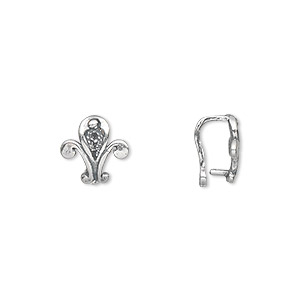 Bail, JBB Findings, Peg Eye, Antiqued Sterling Silver, 10mm Fleur-de-lis, 7mm Grip Length. Sold Individually 7514AN