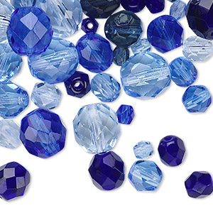 Bead Mix, Czech Fire-polished Glass, Sapphire Blue, 4-10mm Faceted Rounds. Sold Per 50-gram Pkg, Approximately 75-130 Beads 151-19001-00-46810mm-99921