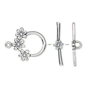 Clasp, JBB Findings, Toggle, Antiqued Sterling Silver, 17mm Round Flower Design. Sold Individually 7600/7601AN