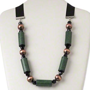 Necklace, Silver-finished Steel / Ribbon / Wood (dyed) / Antiqued Copper-coated Plastic / Acrylic, Black Green, 35x15mm Tube, Adjustable 50 Inches Tie Closure. Sold Individually 4559JD