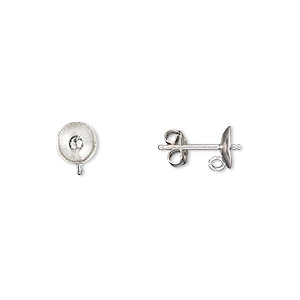 Earstud, Sterling Silver, 6mm Cup Peg Open Loop, Fits 6mm Bead. Sold Per Pair