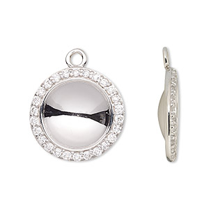 Drop Settings Rhodium-plated Silver Colored