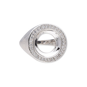 Ring Settings Rhodium-plated Silver Colored