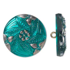 Button, Czech Glass Brass, Turquoise Blue Silver, 27mm Round Flower Design. Sold Individually