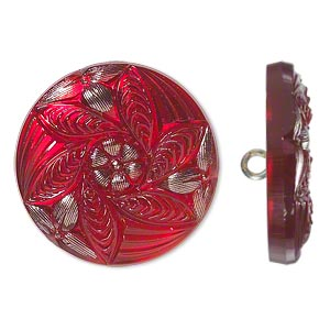 Button, Czech Glass Brass, Red Silver, 27mm Round Flower Design. Sold Individually