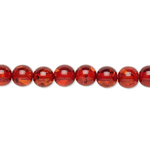 Bead, Amber (imitation), Medium Dark, 6mm Round. Sold Per 16-inch Strand