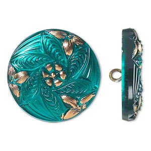 Button, Czech Glass Brass, Turquoise Blue Gold, 27mm Round Flower Design. Sold Individually