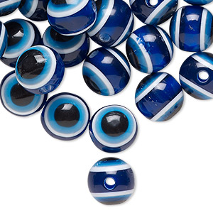 Bead, Resin, Blue Multicolored, 10mm Round Wards Evil Eye Design. Sold Per Pkg 100