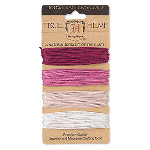 Cord, Hemptique®, hemp, shades of ruby pink, 1mm diameter, 20-pound test. Sold per 120-foot set, 4 colors, 30 feet per color.
