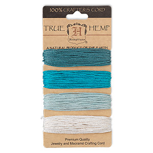Cord, Hemptique®, hemp, shades of aqua blue, 1mm diameter. Sold per 120-foot set, 4 colors, 30 feet per color.