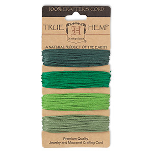 Cord, Hemptique®, hemp, shades of green, 1mm diameter, 20-pound test. Sold per 120-foot set, 4 colors, 30 feet per color.