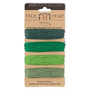 Cord, Hemptique®, hemp, shades of green, 1mm diameter, 20-pound test. Sold per 120-foot set, 4 colors, 30 feet per color.