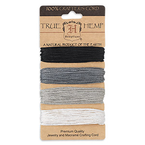 Cord, Hemptique®, hemp, shades of onyx, 1mm diameter, 20-pound test. Sold per 120-foot set, 4 colors, 30 feet per color.