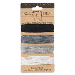 Cord, Hemptique®, hemp, shades of onyx, 1mm diameter, 20-pound test. Sold per 120-foot set, 4 colors, 30 feet per color.