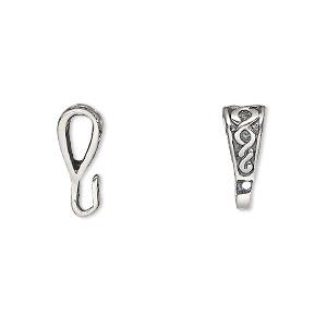 Bail, Pendant, Antiqued Sterling Silver, 11x6mm Celtic Design Loop. Sold Per Pkg 2