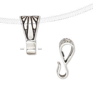 Bail, Pendant, Antiqued Sterling Silver, 13x9mm Flower Design Loop. Sold Per Pkg 2