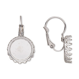 Earring Settings Stainless Steel Silver Colored