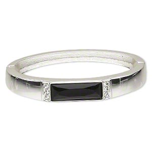 "Bracelet, Hinged Bangle, Silver-finished ""pewter"" (zinc-based Alloy)/epoxy/Czech Crystal, Black Clear, 10mm Wide, 2-1/4 Inch Inside Diameter. Sold Individually 4674JD"