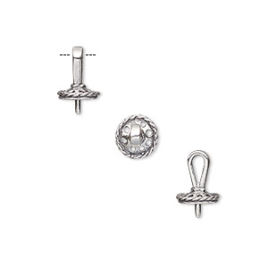 Bail, Pendant, Antiqued Sterling Silver, 8x6mm 6mm Cup Peg, Fits 5-6mm Bead. Sold Per Pkg 2