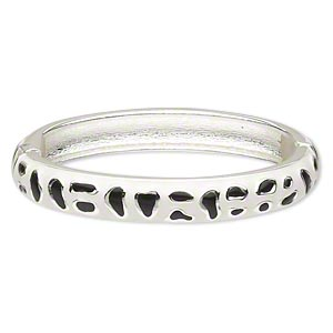 "Bracelet, Hinged Bangle, Epoxy Silver-finished ""pewter"" (zinc-based Alloy), White Black, 10mm Wide Freeform Design, 6 Inches. Sold Individually 4680JD"