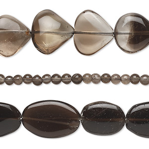 Bead Mix, Smoky Quartz (heated / Irradiated), Light Dark, 3mm-20x15mm Hand-cut Mixed Shapes, C Grade, Mohs Hardness 7. Sold Per Pkg (3) 14-inch Strands