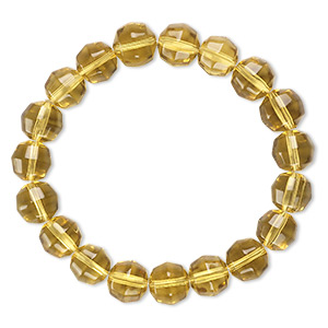 Bracelet, Stretch, Glass, Golden Yellow, 10mm Faceted Round, 6 Inches. Sold Individually 4691SX