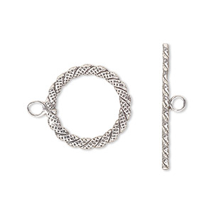 Clasp, Toggle, Antiqued Sterling Silver, 17mm Fancy Round. Sold Individually