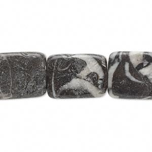 "Bead, Zebra ""jasper"" (natural), 15x13mm-20x14mm Flat Rectangle, C- Grade, Mohs Hardness 3. Sold Per 16-inch Strand"