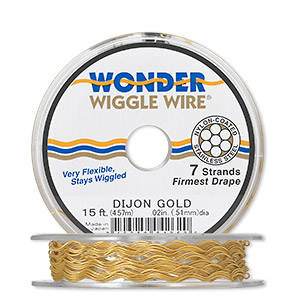 Beading wire, Wonder Wiggle Wire®, stainless steel and nylon