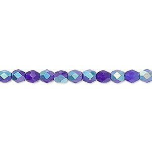 Bead, Czech Fire-polished Glass, Matte Dark Blue AB, 4mm Faceted Round. Sold Per 16-inch Strand 152-19001-00-4mm-30090-28771