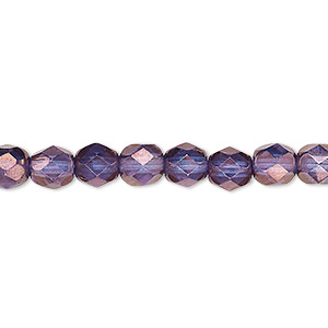 Bead, Czech Fire-polished Glass, Translucent Purple Gold, 6mm Faceted Round. Sold Per 16-inch Strand, Approximately 65 Beads 152-19001-00-6mm-00030-15726