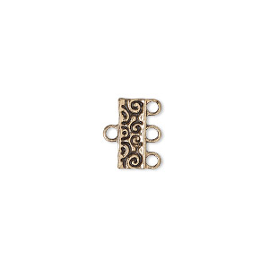 "End Bar, Antique Gold-finished ""pewter"" (zinc-based Alloy), 12x5mm Double-sided Rectangle Swirl Design 3 Loops. Sold Per Pkg 12"